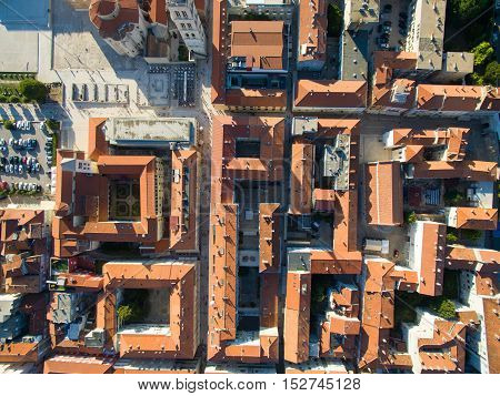 Aerial view of the old city of Zadar in Croatia.