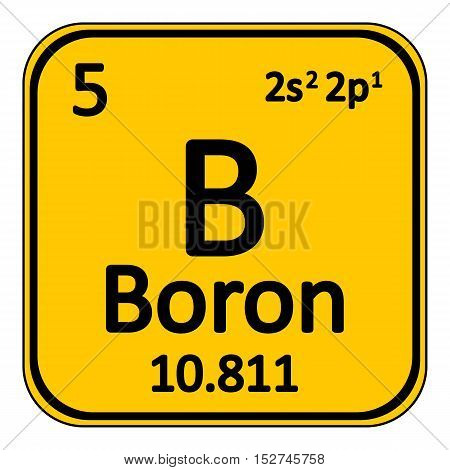 Periodic table element boron icon on white background. Vector illustration.
