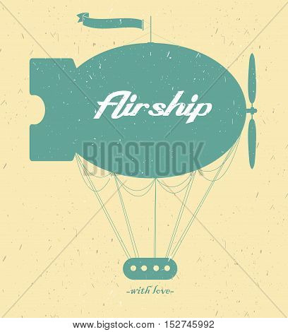Vintage fairy airship. Vector silhouette on a light background