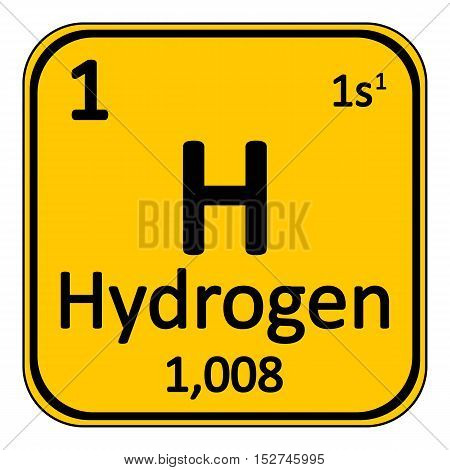 Periodic table element hydrogen icon on white background. Vector illustration.