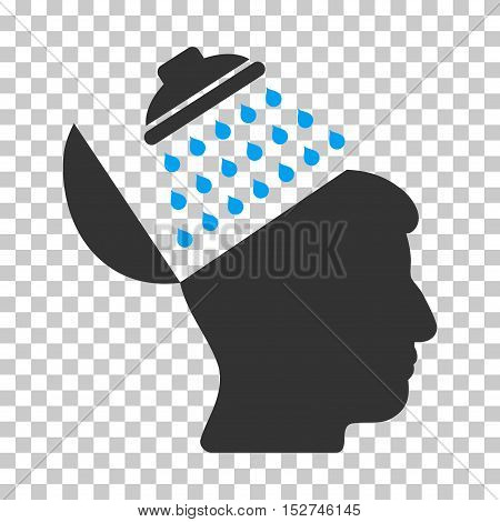 Blue And Gray Propaganda Brain Shower interface toolbar icon. Vector pictograph style is a flat bicolor symbol on chess transparent background.