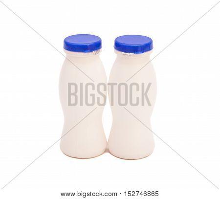 White Yogurt Drink Plastic Bottles Isolated On White Background