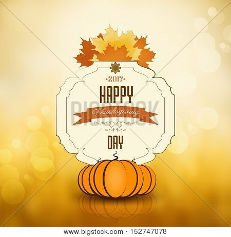 Thanksgiving Day Orange Background With Maple Leafs Ripe Pumpkin And Text