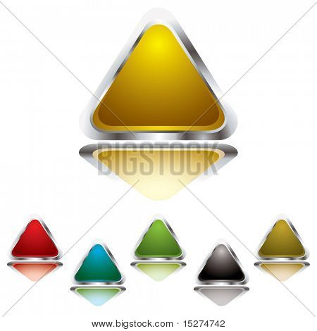 Collection of six gel filled triangle icons with silver bevel