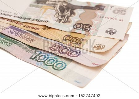 Russian monetary banknotes of different dignity isolated