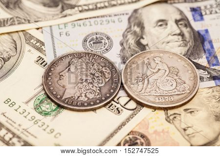 US dollar bills and coins money background