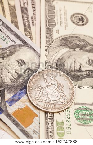 US dollar bills and coin money background