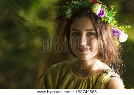 Fantasy Fairy Tale Forest , young woman posing as nymph