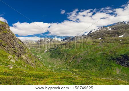 Landscape around the Sognefjellsvegen mountain road in Norway, Europe