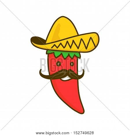Chilli pepper character. Vector cartoon character illustration. Isolated on white background