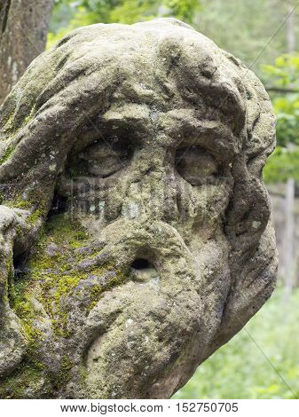 Kuks Forest Sculptures - Hermit Juan Garin - detail of the Baroque sculpture by Matthias Bernard Braun in the Bethlehem of Braun Kuks Czech Republic. The Bethlehem of Braun (Czech: Braunuv Betlem) is a complex of Baroque statues and relieves carved by fam