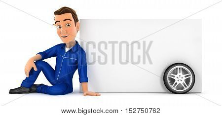 3d mechanic sitting next to blank wall illustration with isolated white background