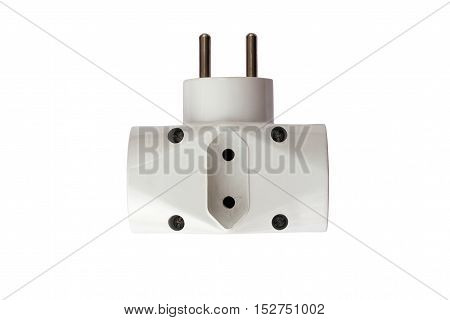 Detail of the old and used adapter plug on white background
