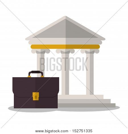 Building and suitcase icon. Law justice legal and judgment theme. Colorful design. Vector illustration