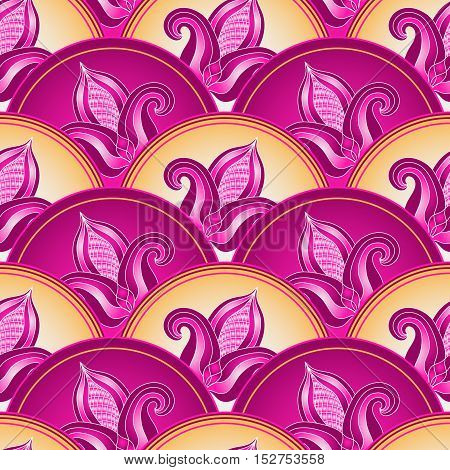 Vintage seamless pattern with pink-purple gradient flowers vector