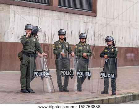 Bogota Colombia - May 01 2016: Armed riot police on the streets of Bogota