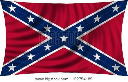 Historical national flag of the Confederate States of America. Known as Confederate Battle Rebel Southern Cross Dixie flag. Patriotic symbol banner. Flag of the CSA waving on white 3d illustration
