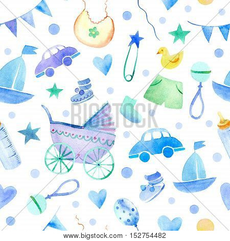 Baby things seamless pattern. Newborn boy attributes.Watercolor hand drawn illustration. Stroller,bottle, clothing and other objects.
