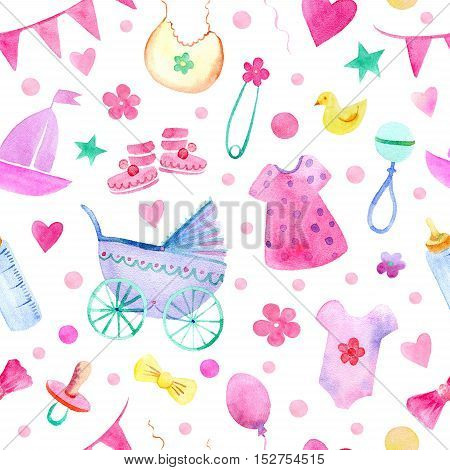 Baby things seamless pattern. Newborn girl attributes.Watercolor hand drawn illustration. Stroller, bottle, clothing and other objects.