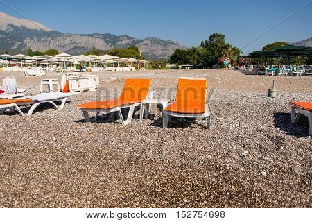 Kemer Turkey Deck chairs on the pebble beach