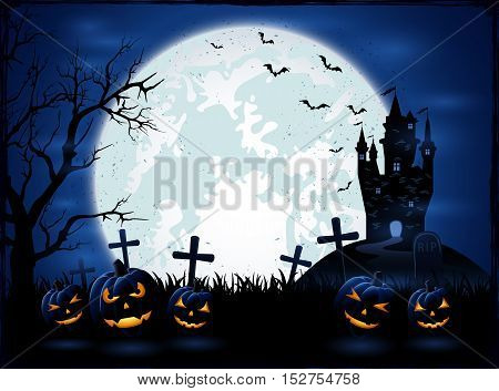 Dark Halloween night holiday background with Moon on blue sky castle and pumpkins on cemetery grunge decoration with cobweb spiders and flying bats illustration.
