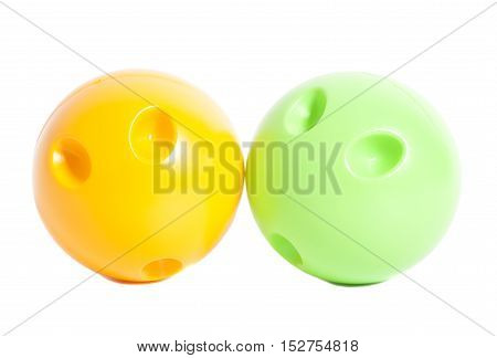 Bowling balls isolated on white background .