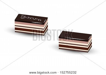 Opera cake is a French dessert it made with layers of almond sponge cake soaked in coffee syrup layered with ganache and coffee and covered in a chocolate glaze