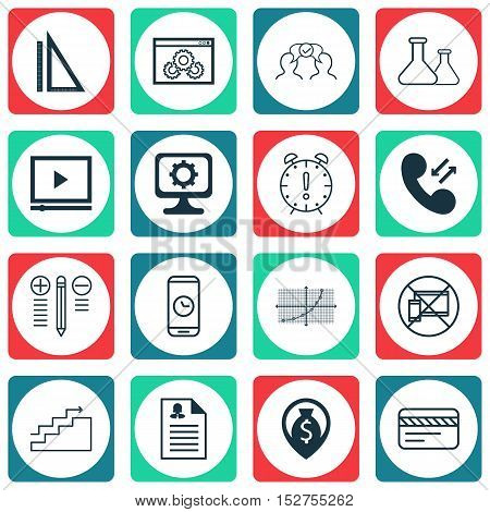 Set Of 16 Universal Editable Icons For Airport, Project Management And Travel Topics. Includes Icons