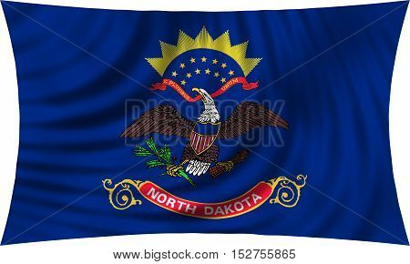 Flag of the US state of North Dakota. American patriotic element. USA banner. United States of America symbol. North Dakotan official flag waving isolated on white 3d illustration