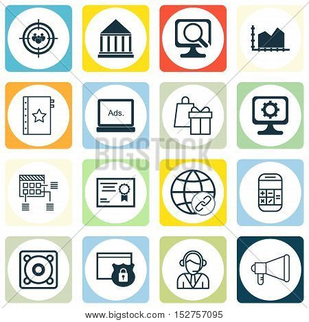 Set Of 16 Universal Editable Icons For Marketing, Computer Hardware And Statistics Topics. Includes