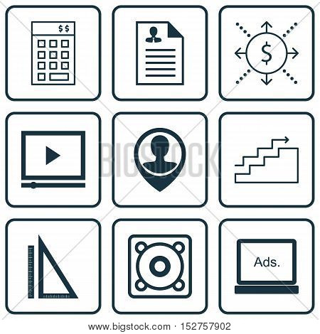 Set Of 9 Universal Editable Icons For Education, Marketing And Computer Hardware Topics. Includes Ic