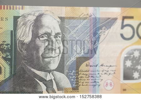 Australian Fifty Dollar Banknote on gray background