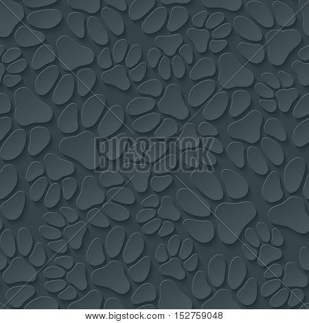 A lot of dog's paw prints on dark gray background. Neutral seamless pattern with 3D effect. Vector EPS10.