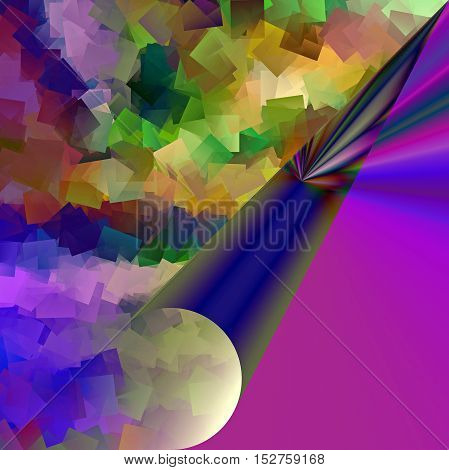 Abstract coloring background of the purples gradient with visual pagecurl, lighting and cubism effects, good for your project design