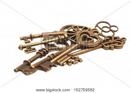 Vintage Goden Keys on a white background