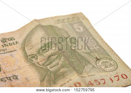 Indian Currency Rupee Notes isolated on a white background