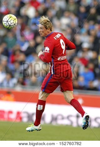BARCELONA, SPAIN - APRIL,9: Fernando Torres of Atletico Madrid during a Spanish League match against RCD Espanyol at the Power8 stadium on April 9, 2016 in Barcelona, Spain