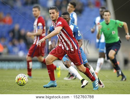 BARCELONA, SPAIN - APRIL,9: Koke Resurreccion of Atletico Madrid during a Spanish League match against RCD Espanyol at the Power8 stadium on April 9, 2016 in Barcelona, Spain