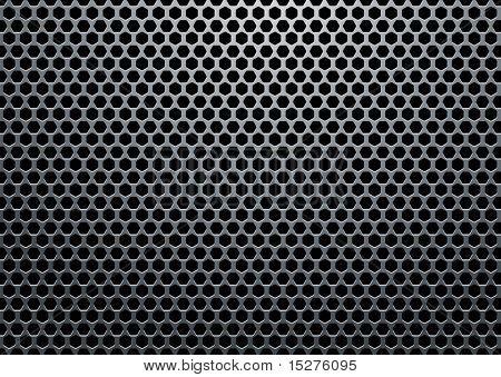 Silber Metall Hintergrund mit Sechskant-Löchern und Lichtreflexion