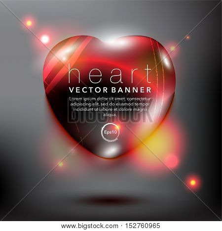 Abstract vector banner. Pebble stone in shape of heart. Red and glossy with realistic light and shadow on the black panel. Vector illustration. Eps10.