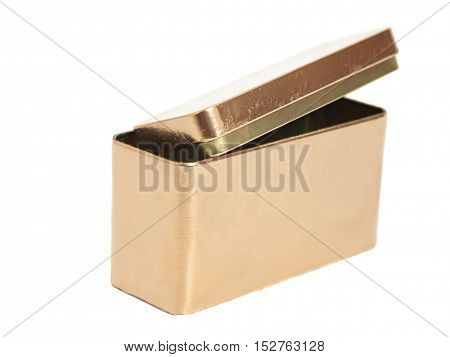 Golden Metal Box isolated on white background