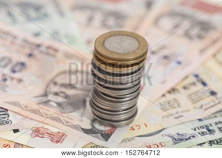 Indian Currency Rupee Notes and Coins Money