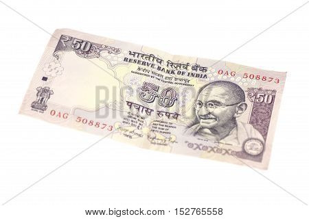 Fifty Rupee note (Indian currency) isolated on white background.