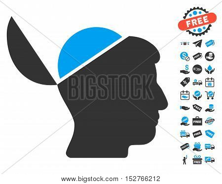Open Brain icon with free bonus pictures. Vector illustration style is flat iconic symbols, blue and gray colors, white background.