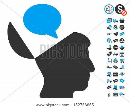 Open Mind Opinion icon with free bonus images. Vector illustration style is flat iconic symbols, blue and gray colors, white background.