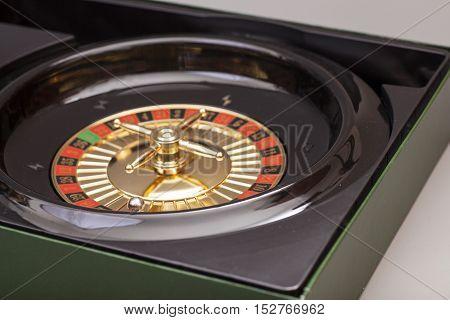 Roulette wheel in casino . Gambling concept.