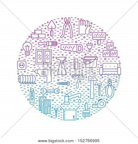 Home repair and construction gradient outline blue-purple circle vector illustration.