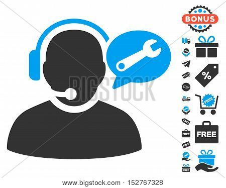 Operator Service Message pictograph with free bonus images. Vector illustration style is flat iconic symbols, blue and gray colors, white background.