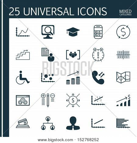 Set Of 25 Universal Editable Icons For Statistics, Advertising And Transportation Topics. Includes I