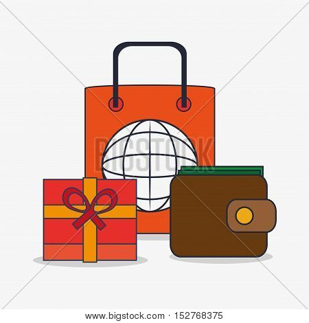 Bag wallet and gift icon. Social media and digital marketing theme. Colorful design. Vector illustration